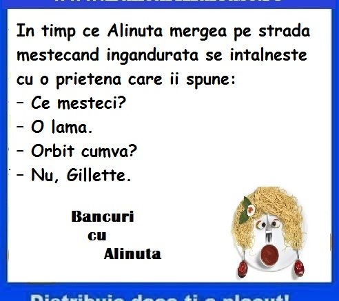 Banc cu Alinuta mestecand o lama, bancuri cu Alinuta 2019, Banc cu Alinuta, Alinuta mestecand o lama, bancuri cu Alinuta, Alinuta 2019, banc Alinuta, bancuri Alinuta,