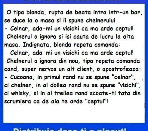 Banc cu blonde la bar, bancuri haioase cu blonde, bancuri amuzante cu blonde, bancuri cu blonde, banc cu blonde